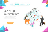 Isometric flat vector concept of Regual medical checkup, health exam, medical services. - 225021361
