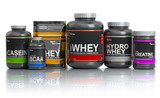 Sports  nutrition (supplements) for bodybuilding. Whey protein casein, bcaa, creatine isolated on white background. - 225025152