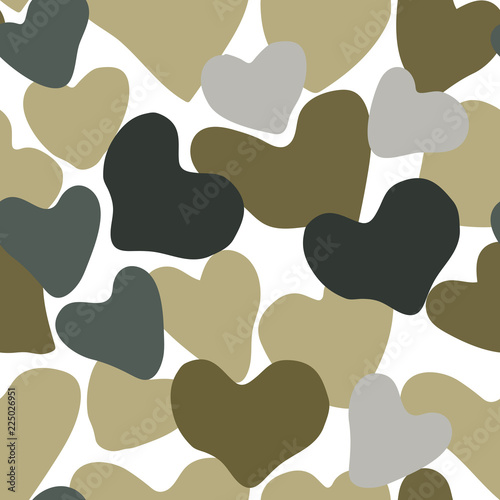 Vector Heart Camouflage green and gray color seamless pattern. Khaki repeat como abstract isolated on white background. © Inga Maya