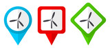 Windmill red, blue and green vector pointers icons. Set of colorful location markers isolated on white background easy to edit.