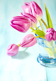 Pink Tulips. Flower background. Wooden background. Close up. Copy space. - 225034191