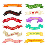 Vector Set of Color Ribbon Banners with Different Text