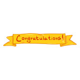 Vector Single Yellow Ribbon with Text - Congratulations