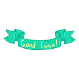 Vector Single Ribbon with Text - Good Luck