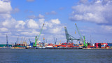 View on container terminal with massive cranes and stacked containers, Port of Antwerp, Belgium - 225039356