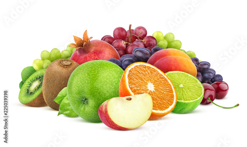 Foto Murales Heap of different fruits and berries isolated on white background