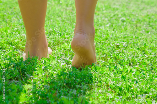 Leinwanddruck Bild Young woman's barefoot walking on the fresh, green grass in sunny summer in the morning. Restful moment. Healthy lifestyle. Bright color. Close up. Back view. Go away.