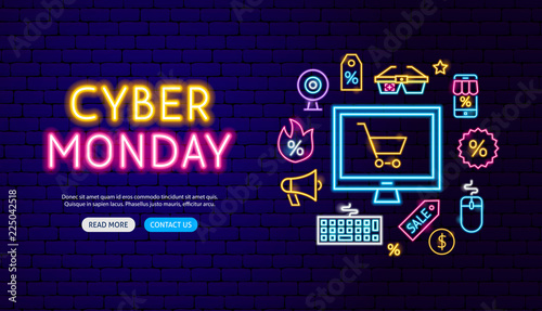 Cyber Monday Neon Banner Design