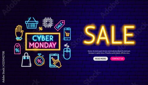 Cyber Monday Sale Neon Banner Design