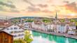 Leinwanddruck Bild - Beautiful view of historic city center of Zurich at sunset