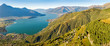 Leinwandbild Motiv Vista aerea panoramica dell'Alto Lario verso sud - Lago di Como (IT)