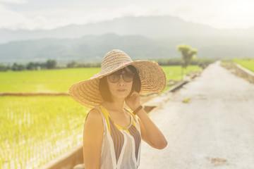 Asian woman traveling