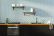 Leinwandbild Motiv Gray kitchen interior with black countertops