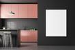 Leinwanddruck Bild - Gray tile kitchen, pink countertops, poster