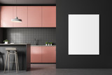 Gray tile kitchen, pink countertops, poster