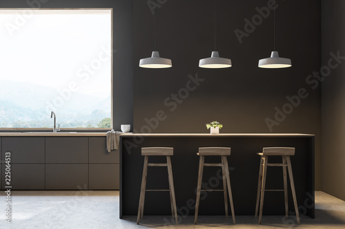 Leinwandbild Motiv Modern gray kitchen with bar, front view