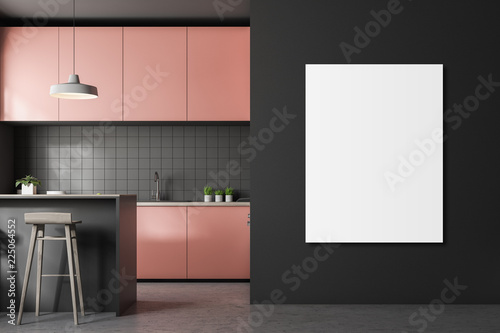 Leinwandbild Motiv Gray tile kitchen, pink countertops, poster