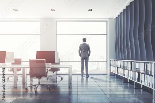 Fridge magnet Wave pattern open plan office, businessman