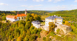 The Rabstejn nad Strelou is considered as the smallest town in Czech Republic which has very important, rich and interesting history. Aerial view of amazing European monument. - 225086145