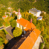 The Rabstejn nad Strelou is considered as the smallest town in Czech Republic which has very important, rich and interesting history. Aerial view of amazing European monument. - 225086362