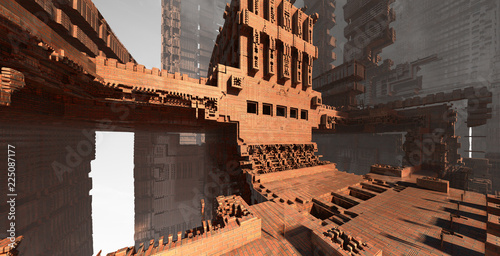 Abstract brick architecture - 225087177