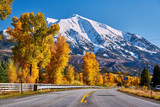 Highway in Colorado Rocky Mountains at autumn - 225087359