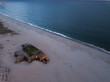 WWII Protection Concrete Bunker on Cape May Beach captured via a drone aerial image