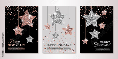 christmas new year and happy holidays banners set with hanging rose gold and silver stars