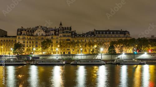 The embankment of Paris at night