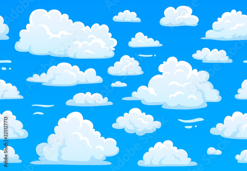 Cartoon blue cloudy sky. Horizontal seamless pattern with white fluffy clouds. 2d game overcast sky vector texture - 225127713