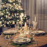 a colorful and festive christmas table setting - 225141127