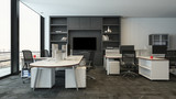 Office packed with modern shelves and tables - 225144956