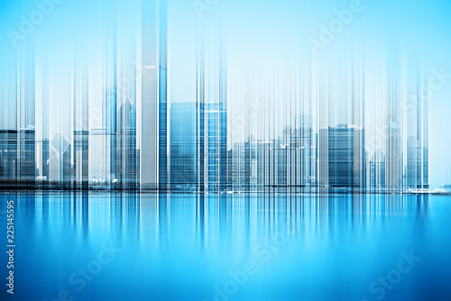 Abstract concept of blurred city skyline - 225145595