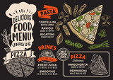 Pizza food menu template for restaurant with chefs hat lettering.