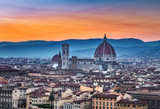 Santa Maria del Fiore cathedral in Florence, Italy, at sunset. Scenic panorama view.