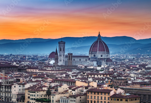 Leinwanddruck Bild Santa Maria del Fiore cathedral in Florence, Italy, at sunset. Scenic panorama view.