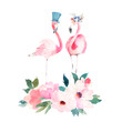 Couple pink flamingos and bouquet flowers. Watercolour print for invitation, birthday, celebration, greeting card