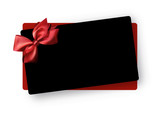 Black greeting or gift card template with red satin bow.