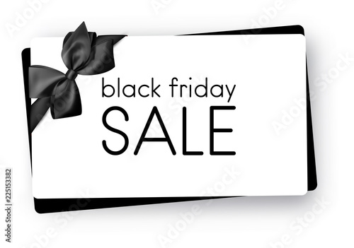 Black friday sale. Gift card with satin bow.