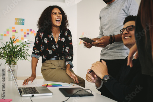 Fridge magnet Business colleagues having fun at work