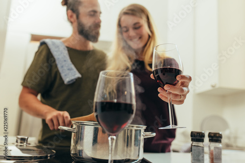 Couple preparing dinner at home together