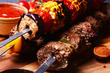 Traditional Georgian food  kebab with spices and vegetables
