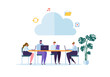 Cloud Storage Technology. Man and Woman Working Together Sharing Data Information Transfer Folders. Vector illustration