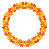 vector colored circular round frame mandala fall autumn leaves - red, orange, yellow and green vibrant color on white background - 225172749
