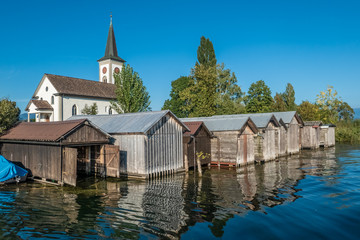 The beautiful historical village of Busskirch on the shores of the Upper Zurich Lake (Obersee), Rapperswil-Jona, Sankt Gallen, Switzerland