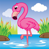 flamingo cartoon, Cute animal, cute cartoon
