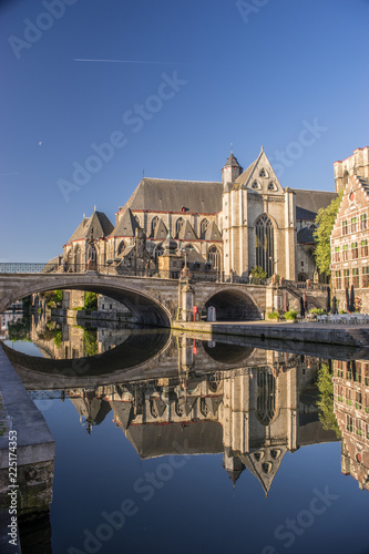 Church of St. Michael view. Early morning. Gent. Belgium.