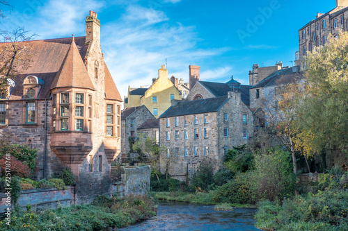 Wall mural Dean Village, a former village in the northwest of the city centre of Edinburgh, Scotland. Also known as the Water of Leith Village