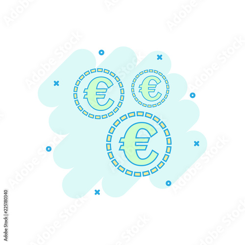 Cartoon Colored Euro Coins Icon In Comic Style Money Coin