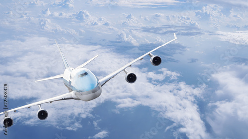 Airplane flying under blue sky 11